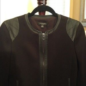 Jacket with quilted leather trim
